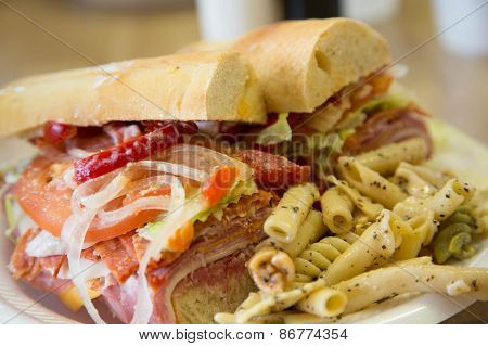 Sub Sandwich On French Bread With Pasta Salad