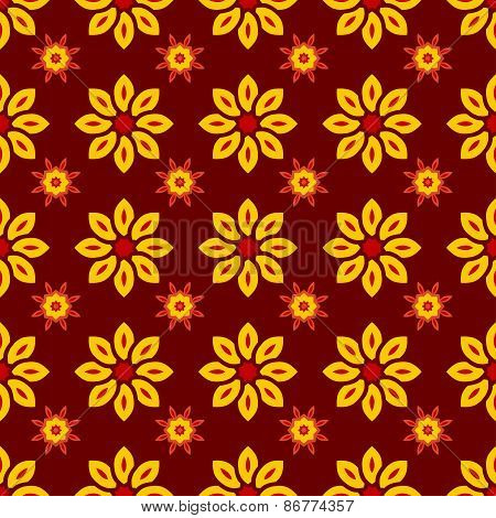 Floral Seamless Pattern With Yellow Flowers On Maroon Background.