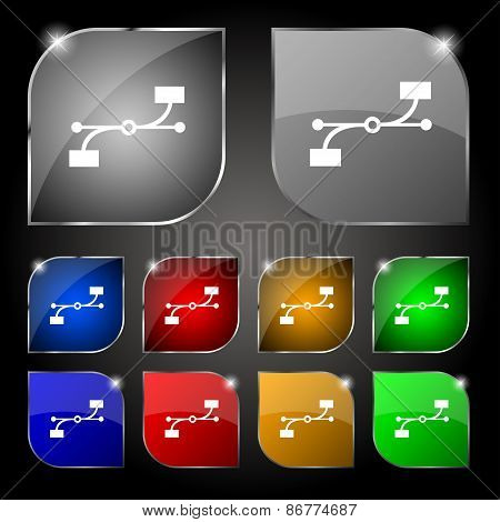 Bezier Curve Icon Sign. Set Of Ten Colorful Buttons With Glare. Vector