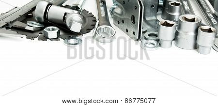 Metalwork. Saw, spanner, ruler and others tools on white background.