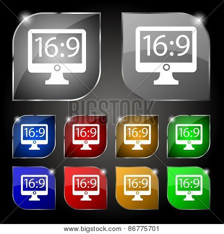 Aspect Ratio 16 9 Widescreen Tv Icon Sign. Set Of Ten Colorful Buttons With Glare. Vector