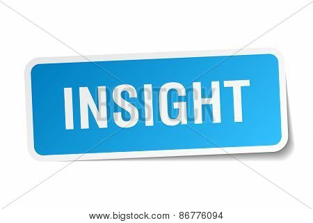Insight Blue Square Sticker Isolated On White