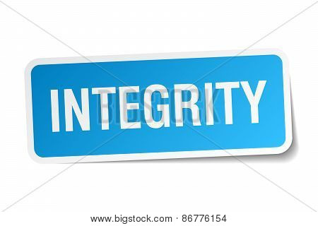 Integrity Blue Square Sticker Isolated On White