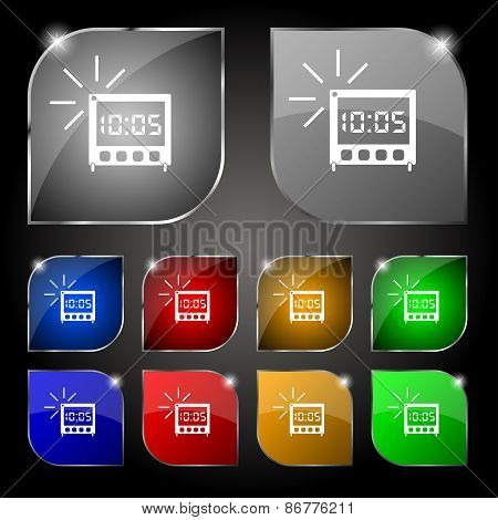 Digital Alarm Clock Icon Sign. Set Of Ten Colorful Buttons With Glare. Vector