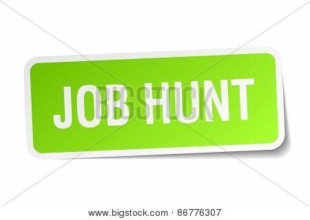 Job Hunt Green Square Sticker On White Background