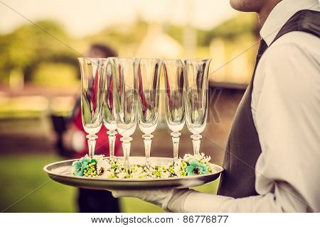 Wedding Ceremony, Waiter With Champagne Glasses