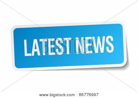Latest News Blue Square Sticker Isolated On White