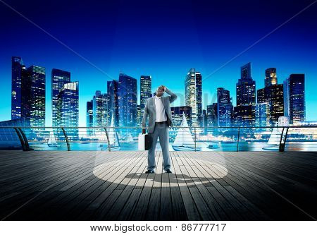 Spotlight Businessman Weary Contemplation Cityscape Concept