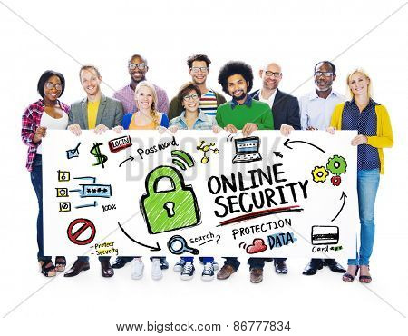 Online Security Protection Internet Safety People Banner Concept