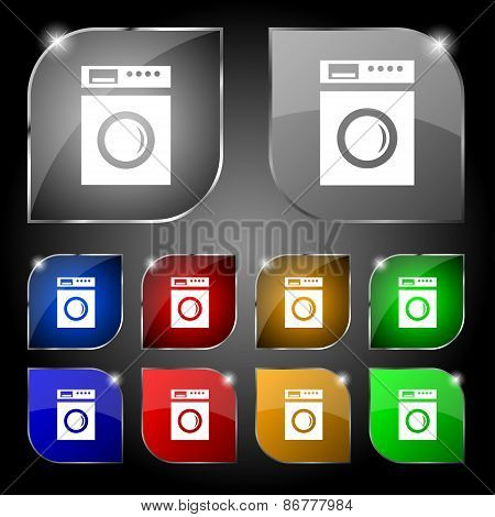 Washing Machine Icon Sign. Set Of Ten Colorful Buttons With Glare. Vector