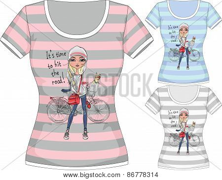 Vector T-shirt with fashion girl and bike
