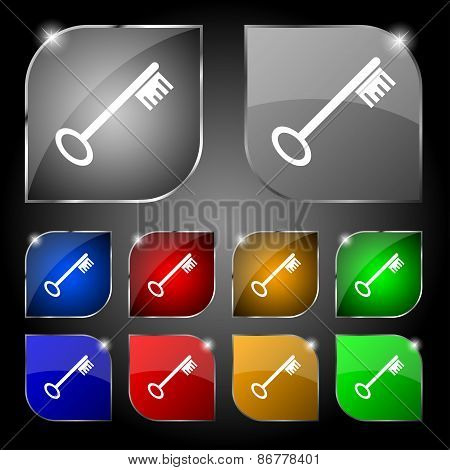 Key Icon Sign. Set Of Ten Colorful Buttons With Glare. Vector