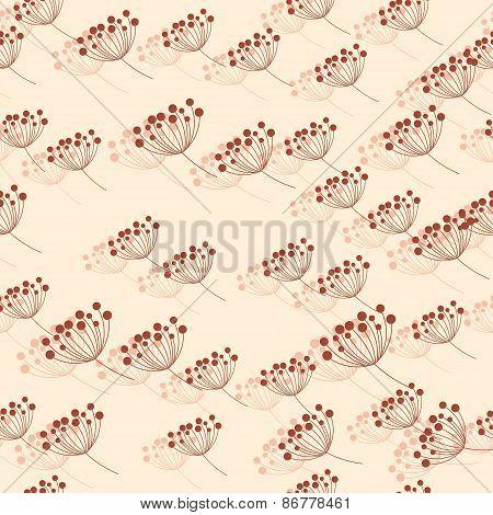 Seamless Pattern With Rowan Berries