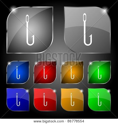 Fishing Hook Icon Sign. Set Of Ten Colorful Buttons With Glare. Vector