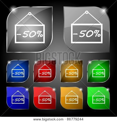 50 Discount Icon Sign. Set Of Ten Colorful Buttons With Glare. Vector