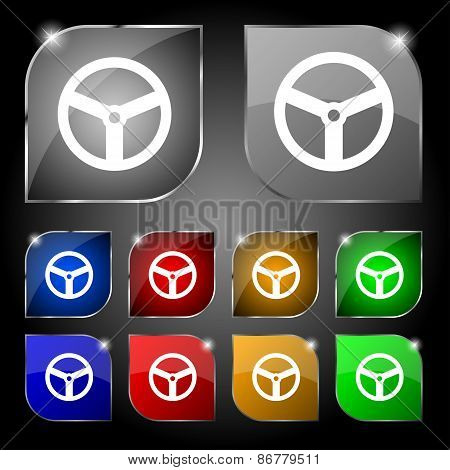 Steering Wheel Icon Sign. Set Of Ten Colorful Buttons With Glare. Vector