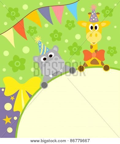 Background  with funny hippopotamus and giraffe