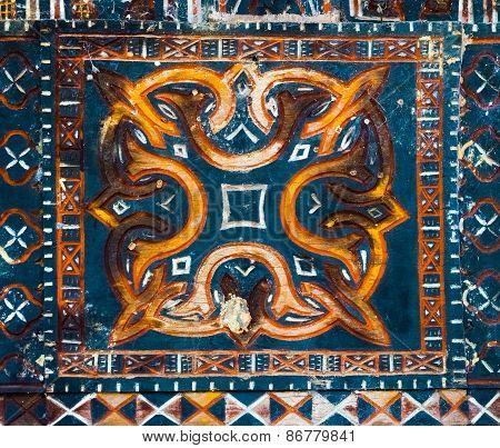 Tana Toraja, Ancient Colorful Decoration On Wood