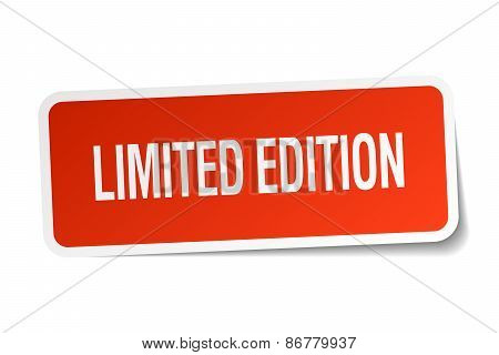 Limited Edition Red Square Sticker Isolated On White
