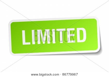 Limited Green Square Sticker On White Background