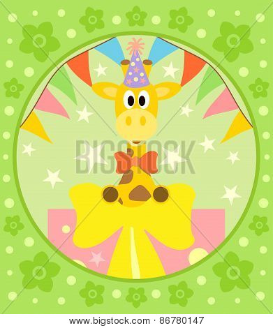 Cartoon  background  with giraffe