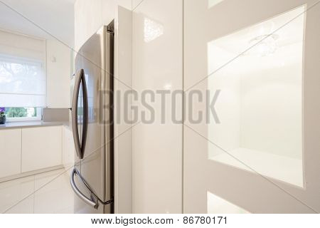 Crystal Kitchen With Silver Fridge