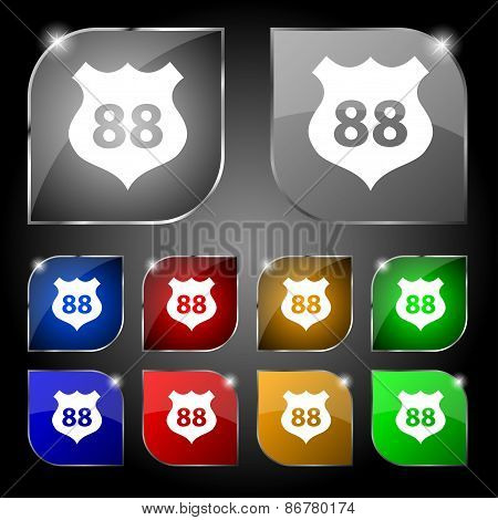 Route 88 Highway Icon Sign. Set Of Ten Colorful Buttons With Glare. Vector