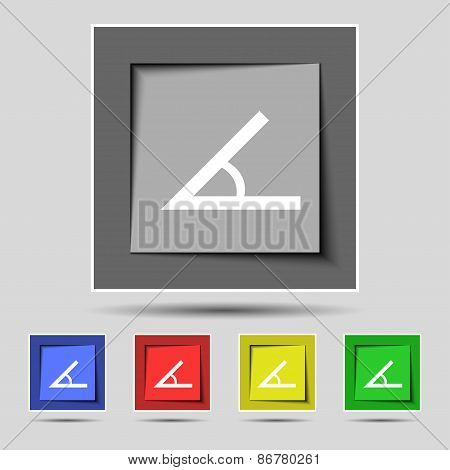 Angle 45 Degrees Icon Sign On The Original Five Colored Buttons. Vector