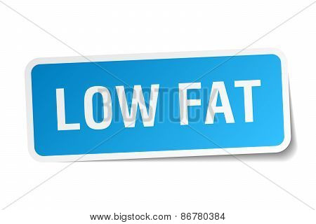 Low Fat Blue Square Sticker Isolated On White