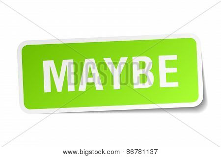 Maybe Green Square Sticker On White Background