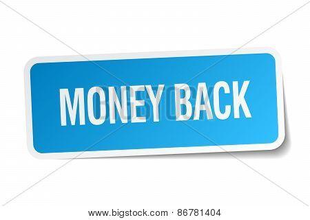 Money Back Blue Square Sticker Isolated On White