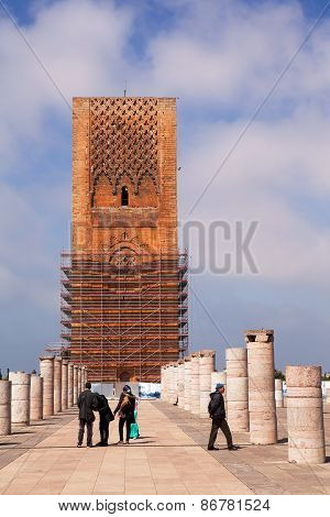 RABAT, MOROCCO - MAR 8 2015 : Visitors stroll amid the pillars of the unfinished mosque.