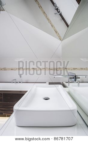 Interior Of Bathroom In The Attic
