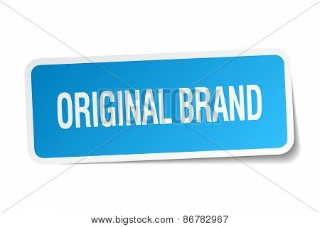 Original Brand Blue Square Sticker Isolated On White