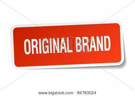Original Brand Red Square Sticker Isolated On White