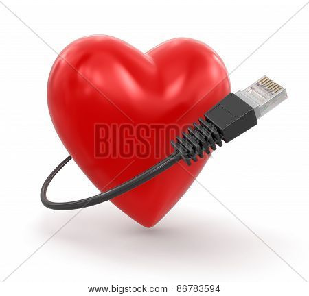 Heart and Computer Cable (clipping path included)