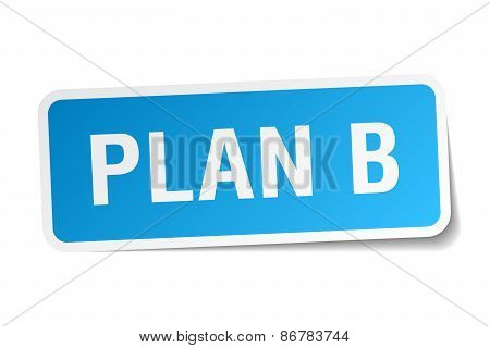 Plan B Blue Square Sticker Isolated On White