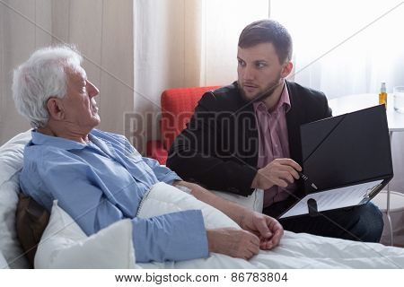 Terminal Patient Talking With Notary