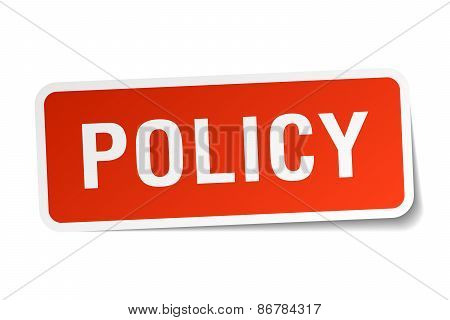 Policy Red Square Sticker Isolated On White