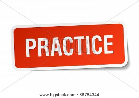 Practice Red Square Sticker Isolated On White