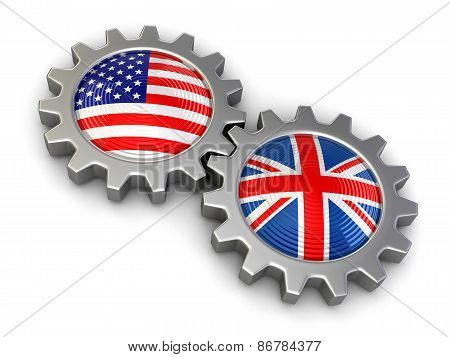USA and British flags on a gears (clipping path included)