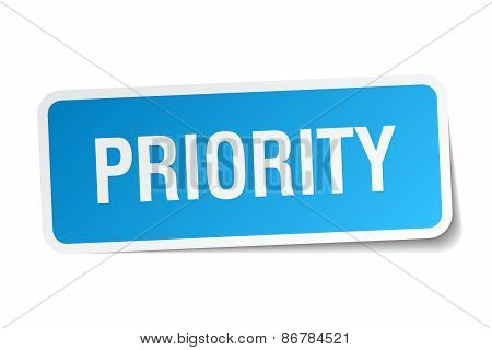 Priority Blue Square Sticker Isolated On White