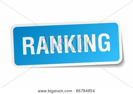 Ranking Blue Square Sticker Isolated On White