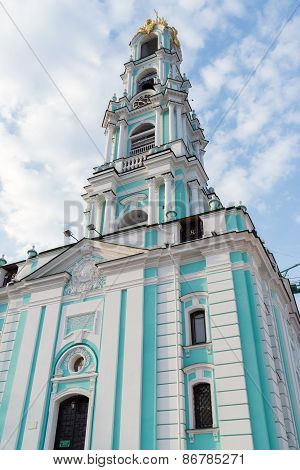 Sergiev Posad, Russia - March 28, 2015. Belfry in  territory of St. Sergius of Radonezh at The Holy