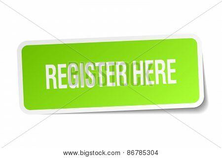 Register Here Green Square Sticker On White Background