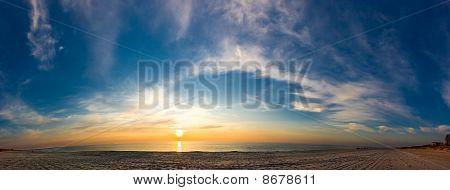Panorama Of Sunset Seacoast