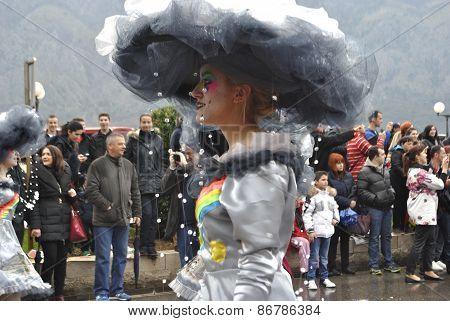 Cloudy girl in carnival.