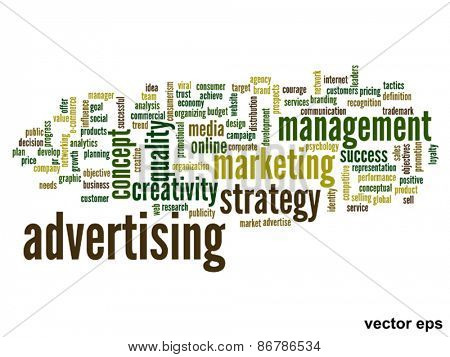 Vector eps concept or conceptual abstract advertising word cloud or wordcloud isolated on white background