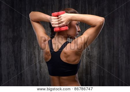 Mixed race sporty woman with dumbbells demonstrating back muscles