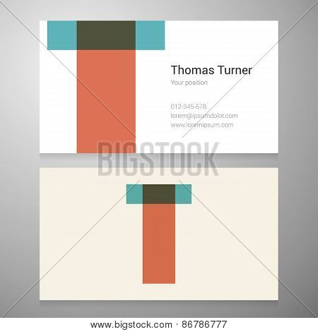 Vintage Letter T Icon Business Card Template